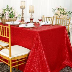 """90""""x132"""" Rectangle  Sequin Tablecloth - Red 01512 (1pc/pk)"""