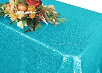 """90""""x132"""" Rectangle  Sequin Tablecloth - Turquoise 01585 (1pc/pk)"""
