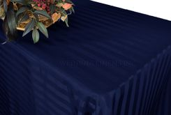 "90""x132"" Rectangular Striped Jacquard Polyester Tablecloths (7 colors)"