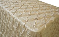 "90""x132"" Rectangle Pinchwheel Taffeta Tablecloth - Champagne 66728(1pc/pk)"