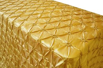 "90""x132"" Rectangle Pinchwheel Taffeta Tablecloth - Gold 66727(1pc/pk)"