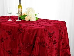 "90""x132"" Rectangle Ribbon Taffeta Tablecloth - Apple Red 65708(1pc/pk)"