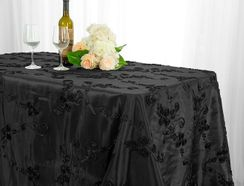"90""x132"" Rectangle Ribbon Taffeta Tablecloth - Black 65739 (1pc/pk)"