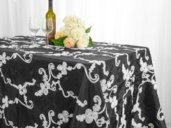 "90""x132"" Rectangle Ribbon Taffeta Tablecloth - Black/White 65779(1pc/pk)"