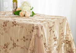 "90""x132"" Rectangle Ribbon Taffeta Tablecloth - Champagne 65728(1pc/pk)"