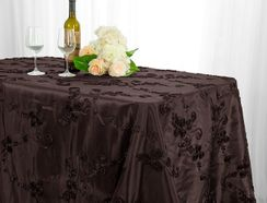 "90""x132"" Rectangle Ribbon Taffeta Tablecloth - Chocolate 65791(1pc/pk)"
