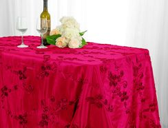"90""x132"" Rectangle Ribbon Taffeta Tablecloth - Fuchsia 65709(1pc/pk)"