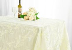 "90""x132"" Rectangle Ribbon Taffeta Tablecloth - Ivory 65702(1pc/pk)"
