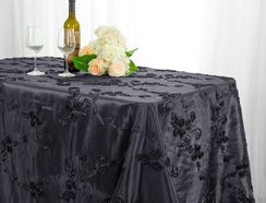 "90""x132"" Rectangle Ribbon Taffeta Tablecloth - Pewter 65760(1pc/pk)"