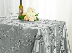 "90""x132"" Rectangle Ribbon Taffeta Tablecloth - Silver 65740(1pc/pk)"