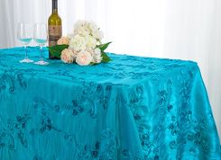 "90""x132"" Rectangle Ribbon Taffeta Tablecloth - Turquoise 65785(1pc/pk)"