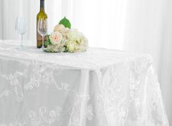 "90""x132"" Rectangle Ribbon Taffeta Tablecloth - White 65701(1pc/pk)"