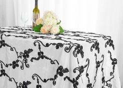 "90""x132"" Rectangle Ribbon Taffeta Tablecloth - White/Black 65769(1pc/pk)"