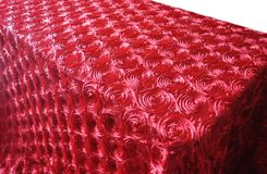 "90""x132"" Rectangle Satin Rosette Tablecloth - Apple Red 56208 (1pc/pk)"