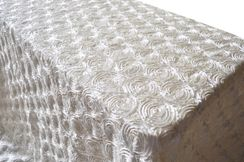 "90""x132"" Rectangle Satin Rosette Tablecloth - Ivory 56202 (1pc/pk)"
