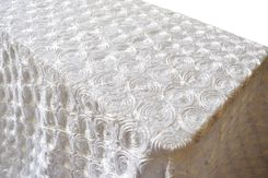 "90""x132"" Rectangle Satin Rosette Tablecloth - White 56201 (1pc/pk)"