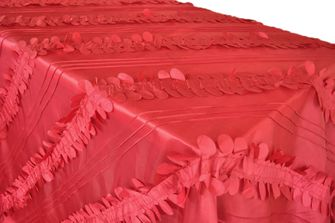 """90""""x156"""" Rectangle Forest Taffeta Tablecloths - Apple Red 67808(1pc/pk)"""