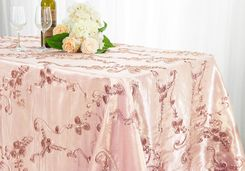 "90""x156"" Rectangle Ribbon Taffeta Tablecloth - Blush Pink  65815 (1pc/pk)"