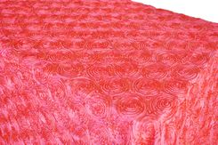 "90""x156"" Rectangle Satin Rosette Tablecloths - Coral 56306 (1pc/pk)"