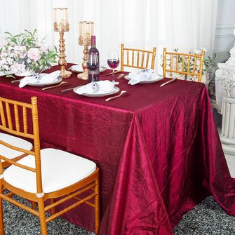 "90"" x 156"" Rectangular Seamless Crushed Taffeta Tablecloth (33 colors)"