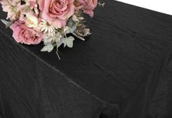 "90""x156"" Rectangle Crushed Taffeta Tablecloth - Black 61839(1pc/pk)"