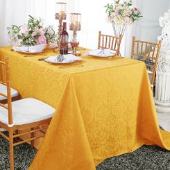 "90""x156"" Rectangular Damask Jacquard Polyester Tablecloths (14 colors)"