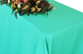 "90""x156"" Rectangle Polyester Tablecloth - Tiff Blue / Aqua Blue 53018(1pc/pk)"