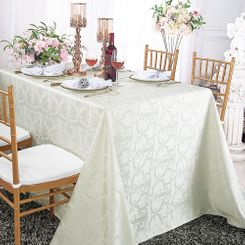 "90""x156"" Rectangular Versailles Chopin Damask Jacquard Polyester Tablecloths (14 colors)"