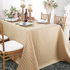 "90""x156"" Rectangular Striped Jacquard Polyester Tablecloths (7 colors)"