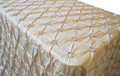 "90""x156"" Rectangle Pinchwheel Taffeta Tablecloth - Champagne 66828(1pc/pk)"