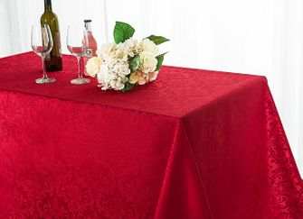 "90""x156"" Rectangle Damask Jacquard Polyester Tablecloth - Apple Red 97008(1pc/pk)"