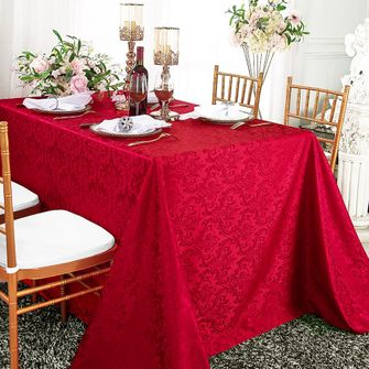 """90""""x156"""" Rectangle Damask Jacquard Polyester Tablecloth - Apple Red 97008(1pc/pk)"""