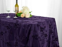 "90""x156"" Rectangle Ribbon Taffeta Tablecloth - Eggplant 65845(1pc/pk)"