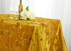 "90""x156"" Rectangle Ribbon Taffeta Tablecloth - Gold 65827(1pc/pk)"