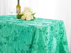 "90""x156"" Rectangle Ribbon Taffeta Tablecloth - Tiff Blue / Aqua Blue 65818 (1pc/pk)"