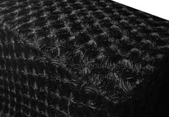 "90""x156"" Rectangle Satin Rosette Tablecloths - Black 56339 (1pc/pk)"