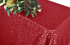 """90""""x156"""" Sequin Rectangle Tablecloth - Apple Red 01608 (1pc/pk)"""