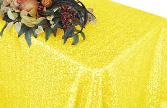 """90""""x156"""" Sequin Rectangle Tablecloth - Canary Yellow 01616 (1pc/pk)"""