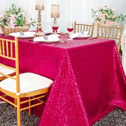 "90""x156"" Sequin Rectangle Tablecloth - Fuchsia 01609 (1pc/pk)"