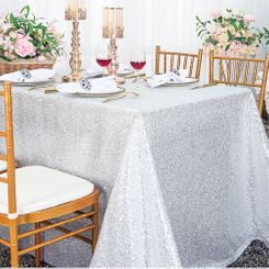 "90""x156"" Sequin Rectangle Tablecloth - Platinum 01671 (1pc/pk)"