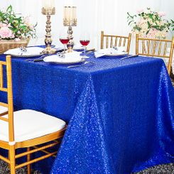 "90""x156"" Sequin Rectangle Tablecloth - Royal Blue 01622 (1pc/pk)"