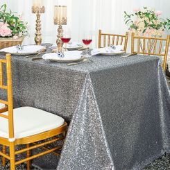 "90""x156"" Sequin Rectangle Tablecloth - Silver 01640 (1pc/pk)"