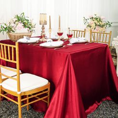 90x132 Rectangle Satin Banquet Tablecloth - Apple Red 55308 (1pc/pk)