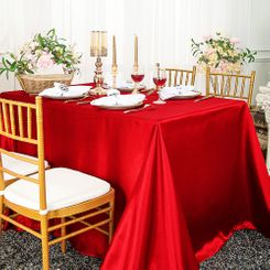 90x132 Rectangle Satin Banquet Tablecloth - Red 55312(1pc/pk)