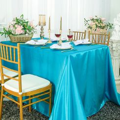 90x132 Rectangle Satin Banquet Tablecloth -Turquoise 55385(1pc/pk)