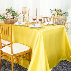 90x156 Rectangle Satin Banquet Tablecloth - Canary Yellow 55716(1pc/pk)