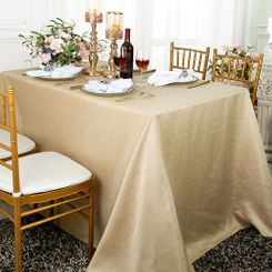 90x156 Rectangular Paillette Poly Flax / Burlap Tablecloth - Champagne 11128 (1pc/pk)