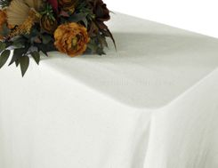 90x156 Rectangular Paillette Poly Flax / Burlap Tablecloth - Ivory 11102 (1pc/pk)