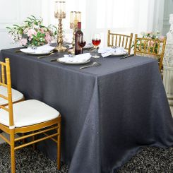 90x156 Rectangular Paillette Poly Flax / Burlap Tablecloth - Pewter 11160 (1pc/pk)