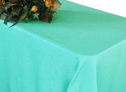 90x156 Rectangular Paillette Poly Flax / Burlap Tablecloth - Tiff Blue / Aqua Blue 11118 (1pc/pk)